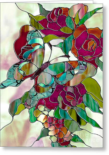 Stained Glass Greeting Cards - Changeling Greeting Card by Mindy Sommers
