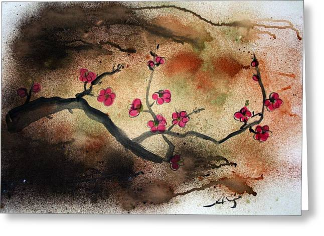 Cherry Blossoms Mixed Media Greeting Cards - Changes In Season Greeting Card by Alma Yamazaki