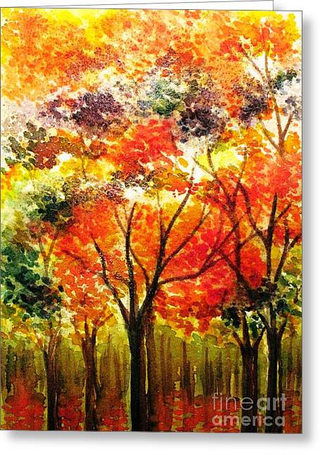 Shades Of Red Greeting Cards - Changing Colors of the Season Greeting Card by Hazel Holland