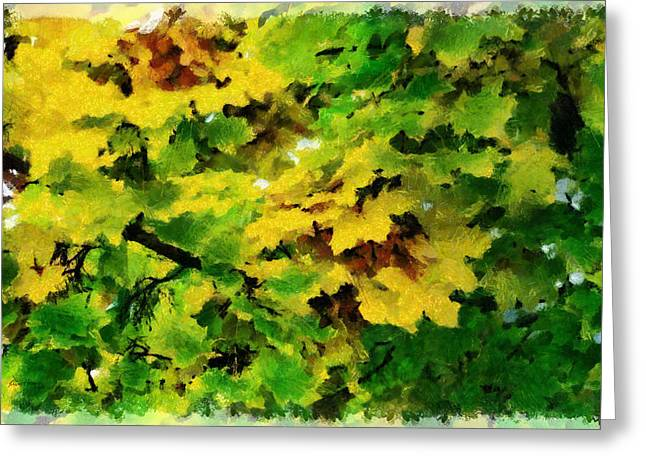 Green Abstract Pastels Greeting Cards - Changing Leaves Greeting Card by Russ Harris
