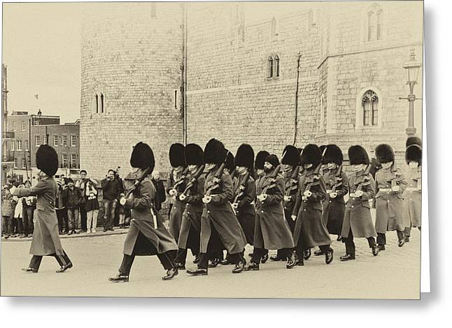 Marching Band Greeting Cards - Changing the Guard Windsor Castle Greeting Card by Chris Thaxter