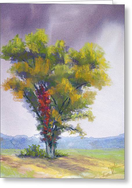 Raining Pastels Greeting Cards - Changing Weather Changing Tree Greeting Card by Christine Camp