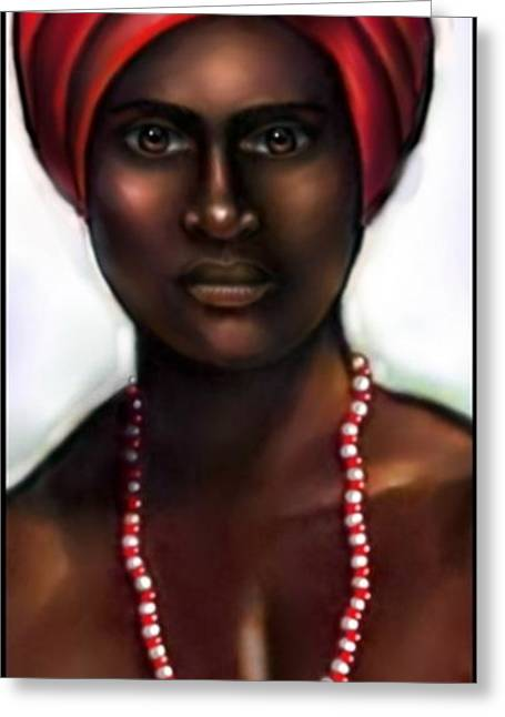 Santeria Warrior Greeting Cards - Chango 2 Greeting Card by Carmen Cordova
