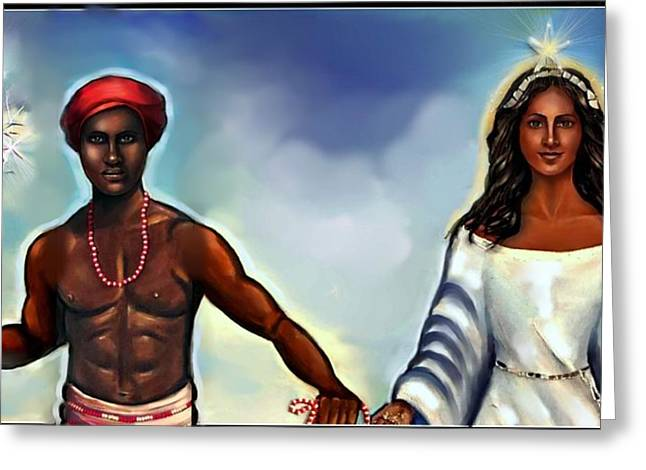 Orishas Greeting Cards - Chango and Yemaya Together Greeting Card by Carmen Cordova