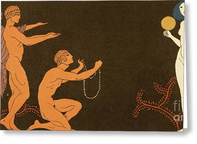 Chanson Greeting Card by Georges Barbier