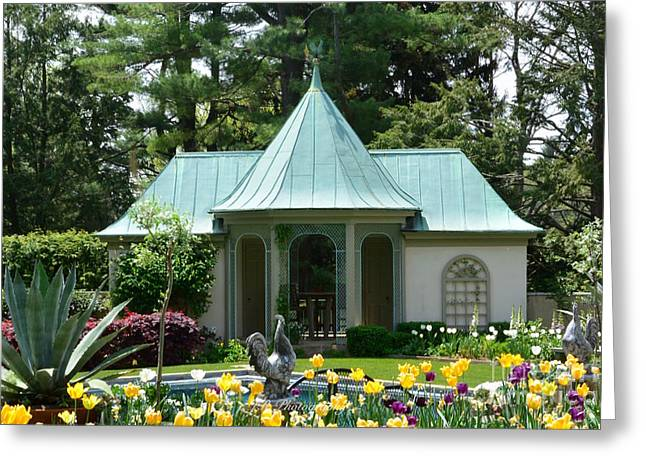Chanticleer Greeting Cards - Chanticleer Bath House B Greeting Card by Jeannie Rhode Photography