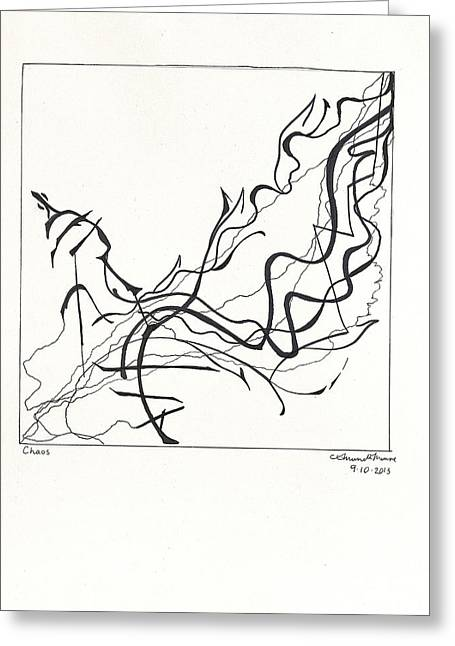 Thin Drawings Greeting Cards - Chaos Greeting Card by Amanda Monroe
