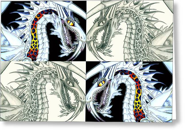 Recently Sold -  - White Drawings Greeting Cards - Chaos Dragon fact vs fiction Greeting Card by Shawn Dall