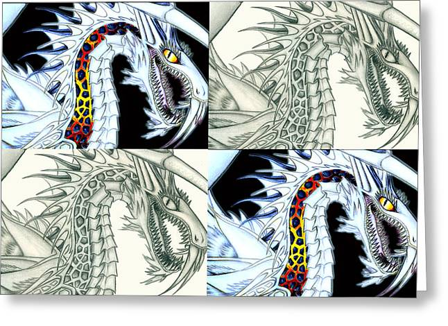 Chaos Dragon Fact W Fiction Greeting Card by Shawn Dall