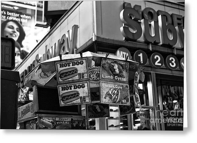 Hot Dog Stand Greeting Cards - Chaotic New York City mono Greeting Card by John Rizzuto