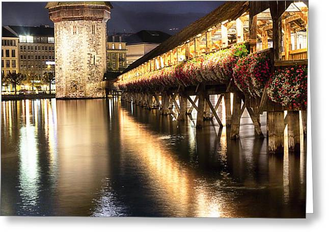Chapel Bridge at Night in Lucerne Greeting Card by George Oze