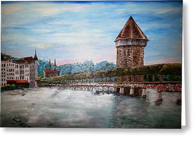 Reuss Greeting Cards - Chapel Bridge Lucerne Switzerland Greeting Card by Irving Starr