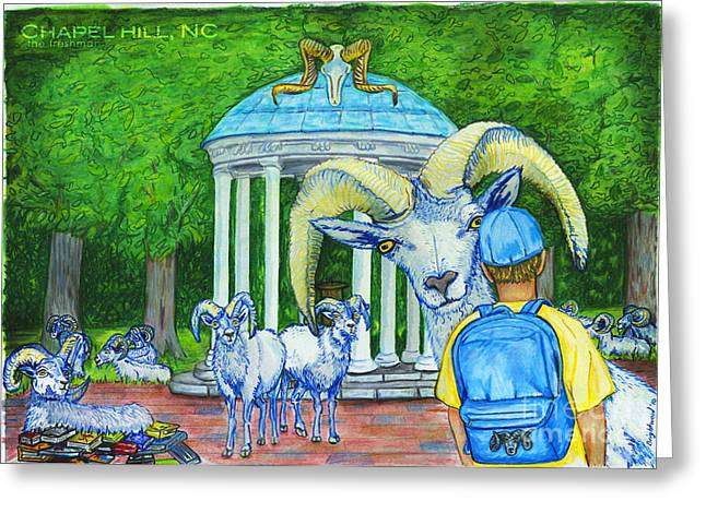 Carolina Pastels Greeting Cards - Chapel Hill NC The Freshman Greeting Card by Laura Brightwood