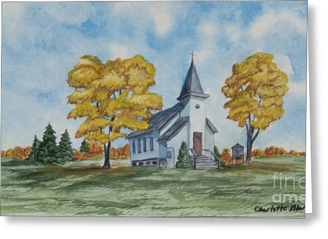 Church Painter Greeting Cards - Chapel In Fall Greeting Card by Charlotte Blanchard