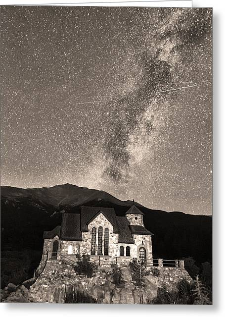 Chapel On The Rock Greeting Cards - St Malo Miky Way Perseid Meteor Shower BW Sepia Greeting Card by James BO  Insogna