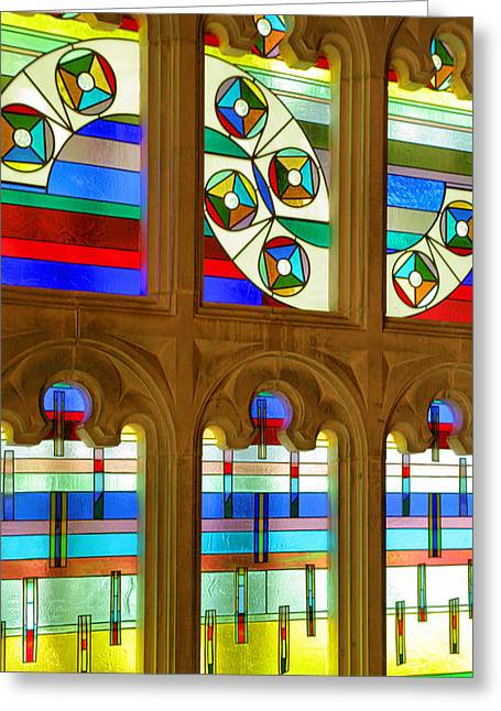 Indiana University Greeting Cards - Chapel Windows Greeting Card by Steven Ainsworth