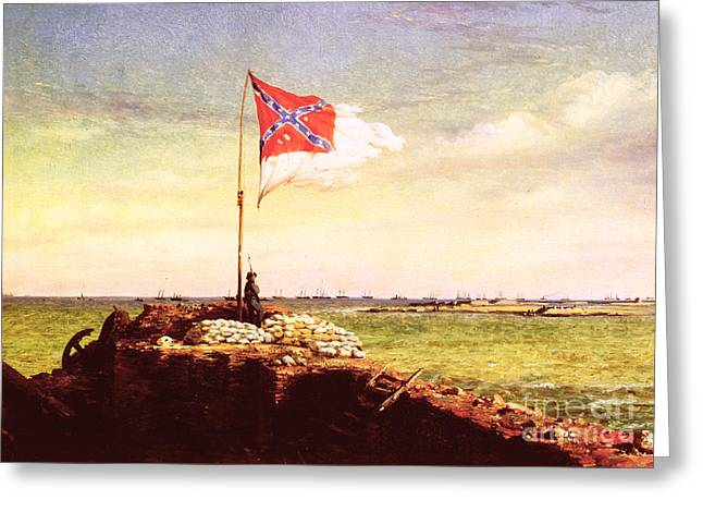 Troops Photographs Greeting Cards - Chapman: Fort Sumter Flag Greeting Card by Granger