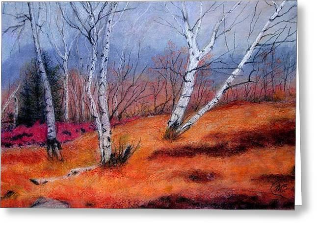 Birch Tree Pastels Greeting Cards - Chappaqua Morn Greeting Card by Mary Ellen Bitner