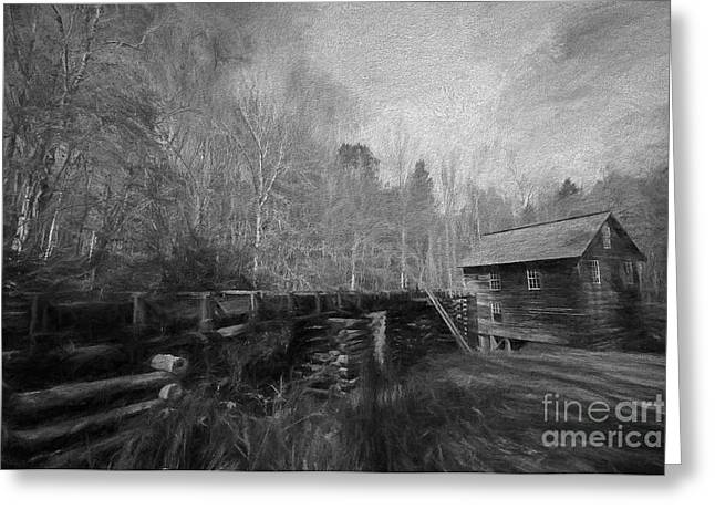 Grist Mill Greeting Cards - Charcoal Mill Greeting Card by Dave Bosse