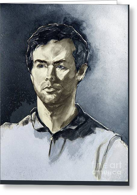 Charcoal Portrait Of A Man In Blue Greeting Card by Greta Corens