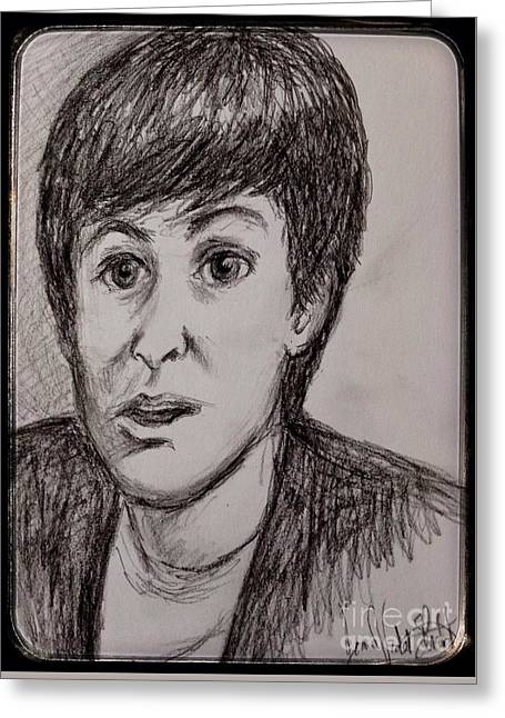 The Tapestries Textiles Greeting Cards - Charcoal Portrait of Paul McCartney Greeting Card by Joan-Violet Stretch
