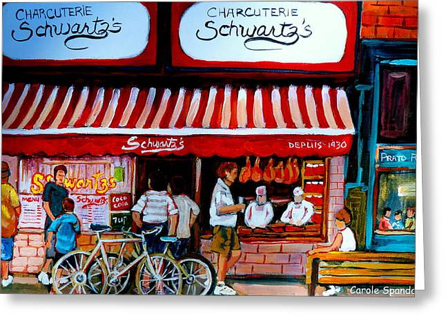 Charcuterie Schwartz's Deli Montreal Greeting Card by Carole Spandau