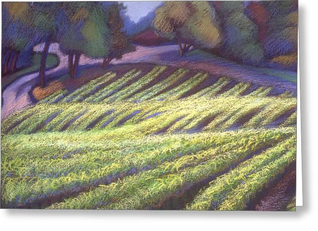 Wine Vineyard Pastels Greeting Cards - Chardonay Greeting Card by Linda Ruiz-Lozito