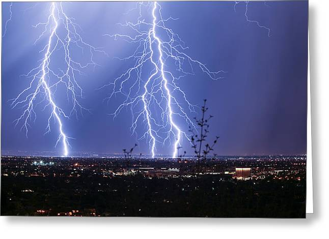 Scottsdale Lightning Greeting Cards - Charge Greeting Card by Cathy Franklin