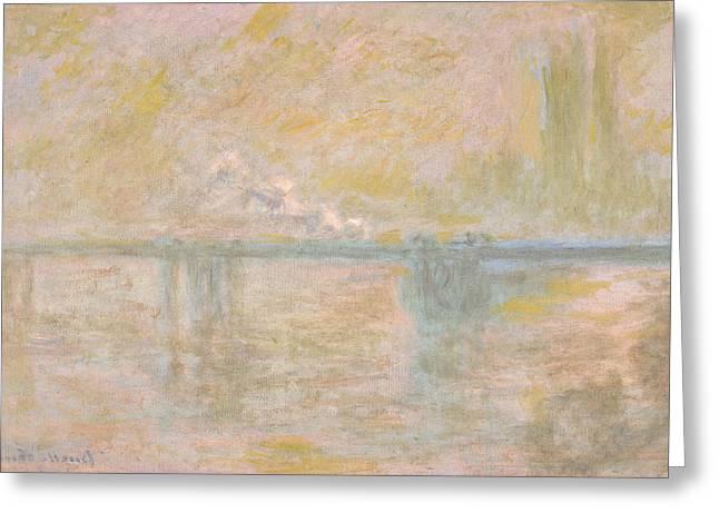 Charing Cross Bridge Greeting Cards - Charing Cross Bridge in London Greeting Card by Claude Monet