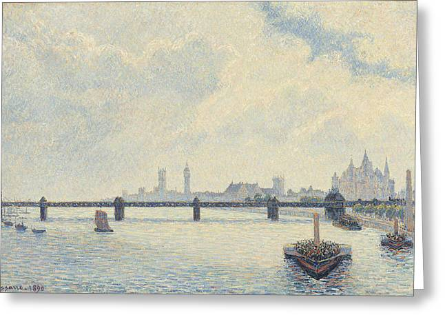 Famous Bridge Greeting Cards - Charing Cross Bridge - London Greeting Card by Camille Pissarro
