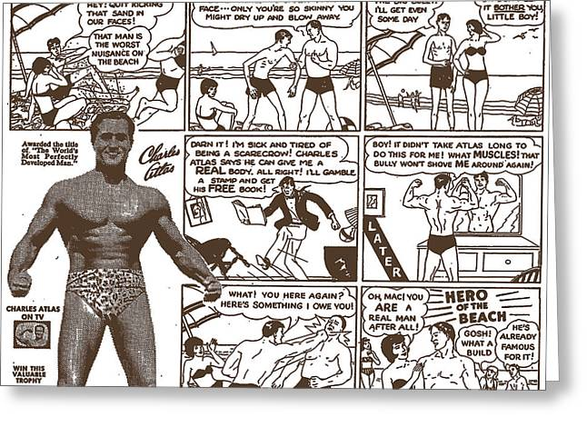 Charles Atlas Manly Man Greeting Card by Edward Fielding