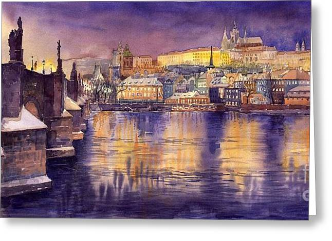 Charles Bridge Paintings Greeting Cards - Charles Bridge and Prague Castle with the Vltava River Greeting Card by Yuriy  Shevchuk