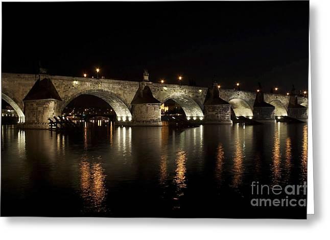 1300s Greeting Cards - Charles bridge at night Greeting Card by Michal Boubin