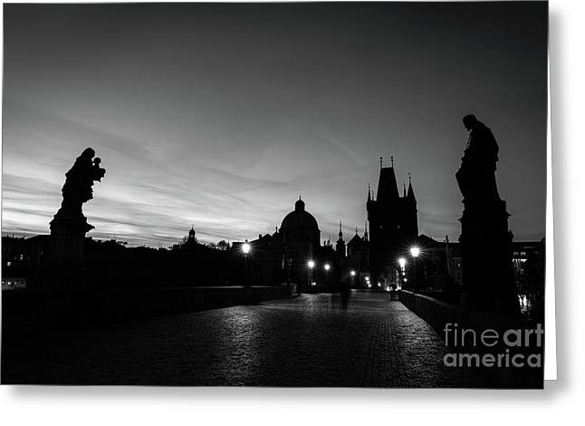 Charles Bridge At Sunrise, Prague, Czech Republic. Statues, Medieval Towers In Black And White Greeting Card by Michal Bednarek