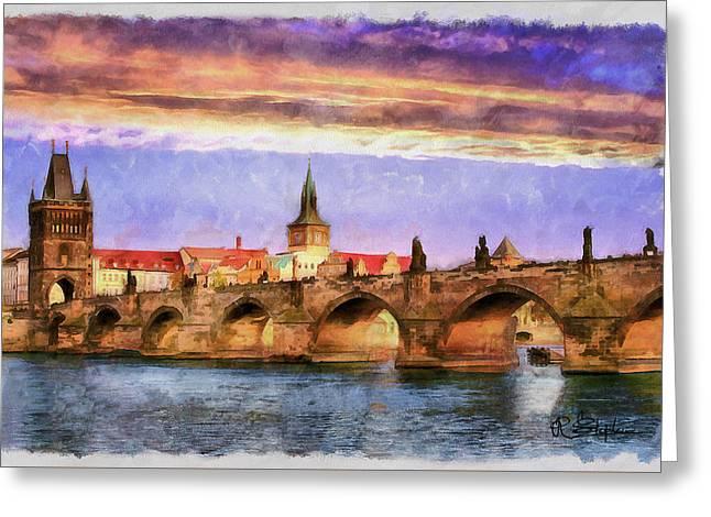 Vltava Digital Greeting Cards - Charles Bridge at Sunset Greeting Card by Richard Stephen