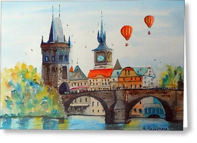 Prague Paintings Greeting Cards - Charles Bridge in Prague Greeting Card by Achilles Kalogiros