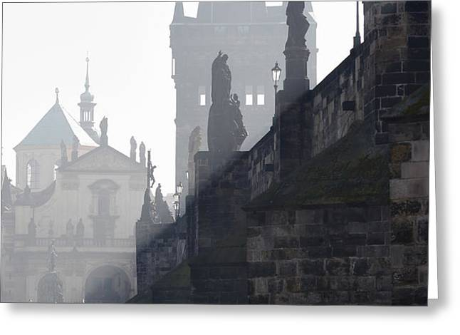 Charles bridge in the early morning fog Greeting Card by Michal Boubin