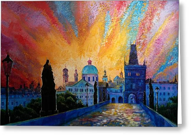 Prague Paintings Greeting Cards - Charles Bridge Prague Greeting Card by Tinatin Chumburidze