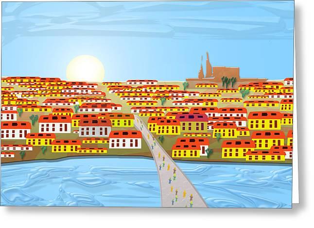 Vltava Digital Greeting Cards - Charles Bridge Greeting Card by Warren Lynn