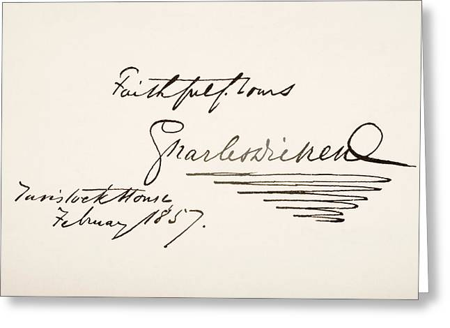 Sign Writing Greeting Cards - Charles Dickens, 1812 - 1870. English Greeting Card by Vintage Design Pics