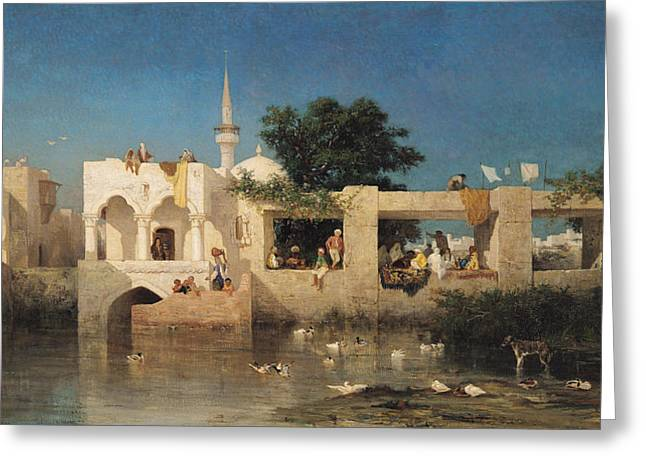 Charles River Paintings Greeting Cards - Charles Emile de Tournemine Greeting Card by Cafe in Adalia