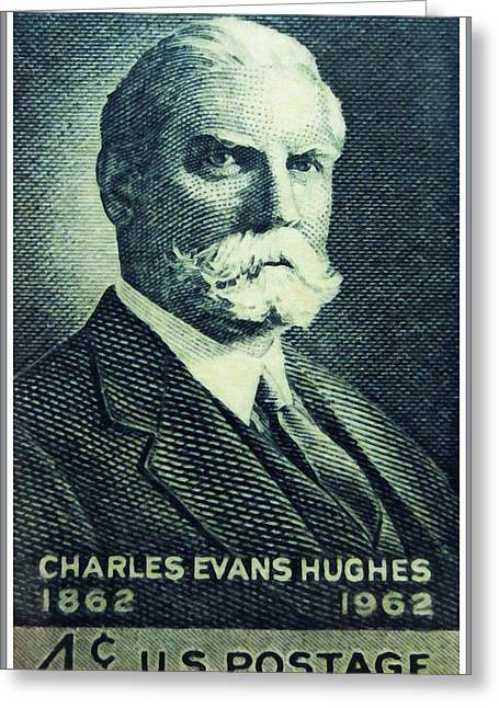 Chief Justice Paintings Greeting Cards - Charles Evans Hughes Greeting Card by Lanjee Chee