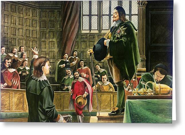 Treason Greeting Cards - Charles I in the House of Commons Greeting Card by English School