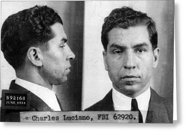 Police Art Greeting Cards - Charles Lucky Luciano Mug Shot 1931 Horizontal Greeting Card by Tony Rubino