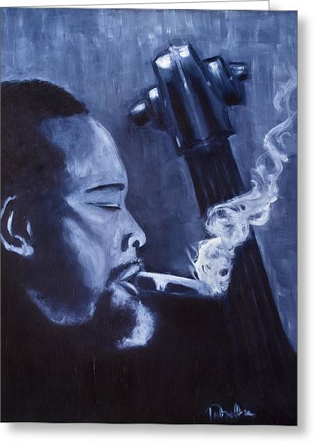 Monotone Paintings Greeting Cards - Charles Mingus Greeting Card by Tabetha Landt-Hastings