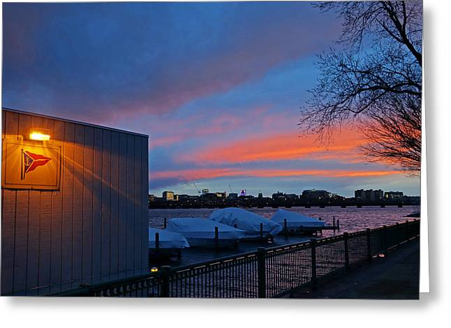 Charles River Boathouse At Sunset Boston Ma Greeting Card by Toby McGuire