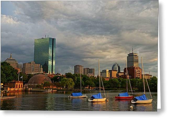 Boston Ma Greeting Cards - Charles River Boats Esplanade Greeting Card by Toby McGuire