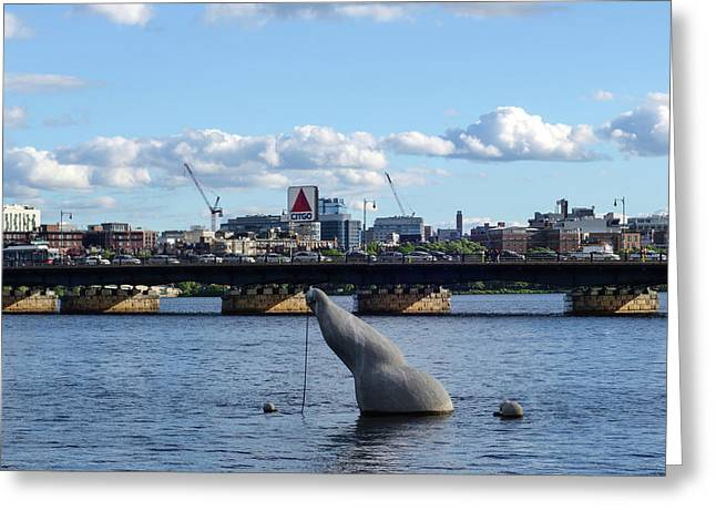 Charles River Boston Ma Crossing The Charles Citgo Sign Mass Ave Bridge Greeting Card by Toby McGuire
