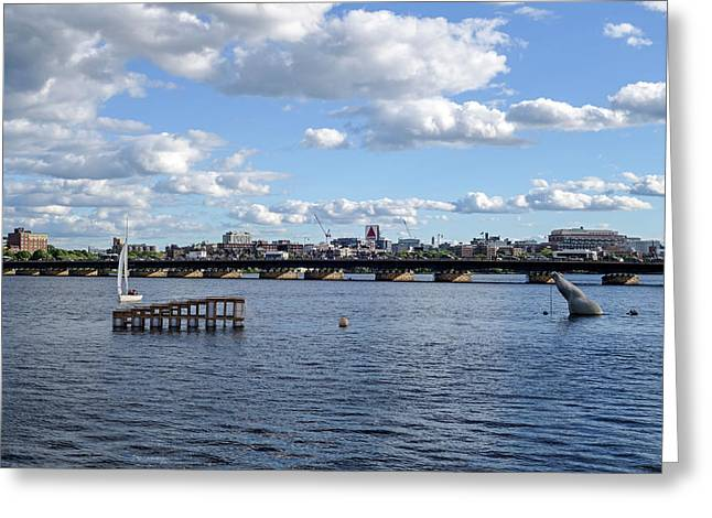 Charles River Boston Ma Crossing The Charles Citgo Sign Greeting Card by Toby McGuire