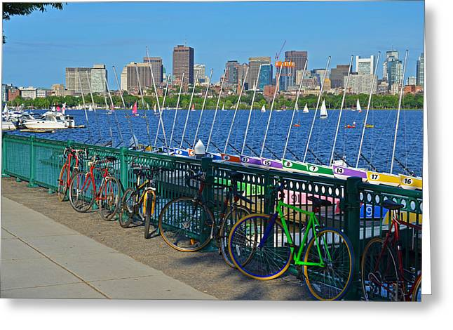 Charles River Greeting Cards - Charles River Colorful Bikes and Boats Greeting Card by Toby McGuire